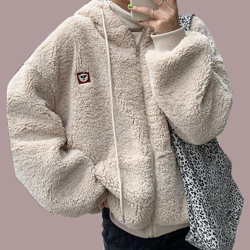 2021 novo outono inverno mulher gota quente sólida ovelha lã femme para cima espessura casual estilo coreano estilo feminino outwear j3g3
