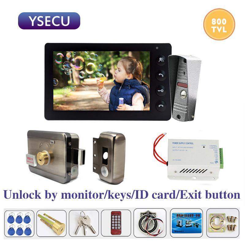 YSECU 7-дюймовый 800TVL видеодомофон с Электрическим замком дверь контроля доступа 3A питания Выход Кнопки телефоном дверь для дома безопасности