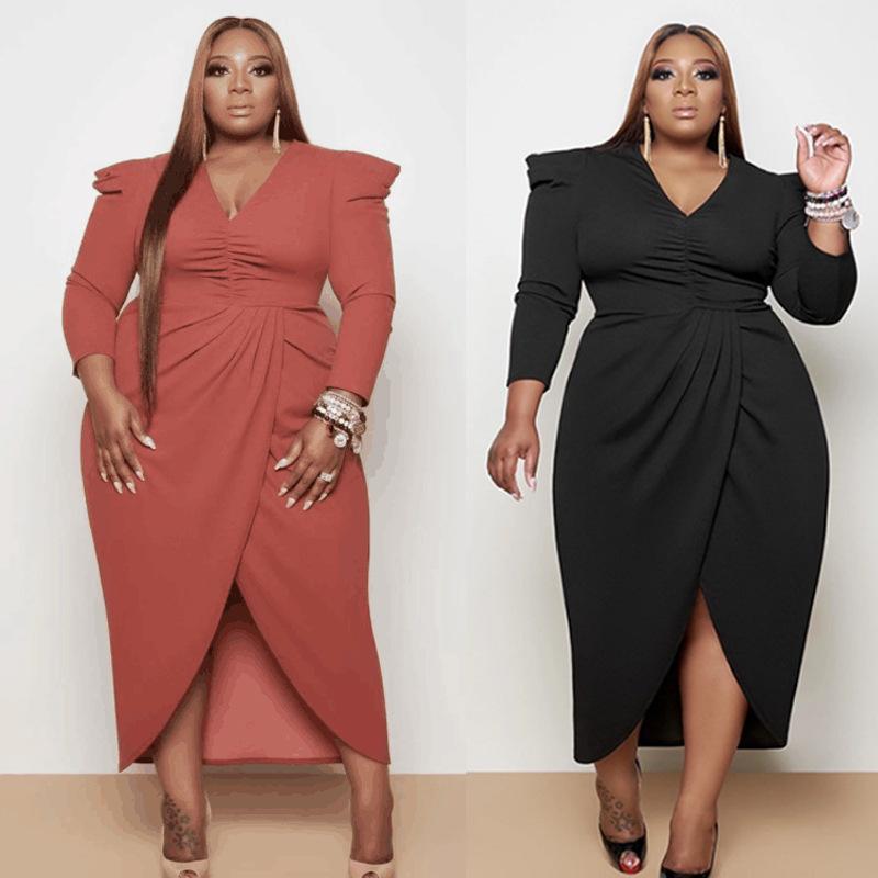 2021 осень / зима Новые продукты Женские европейские и американские платья большого размера V-образным вырезом Нерегулярное платье с длинным рукавом Pure Color SPL