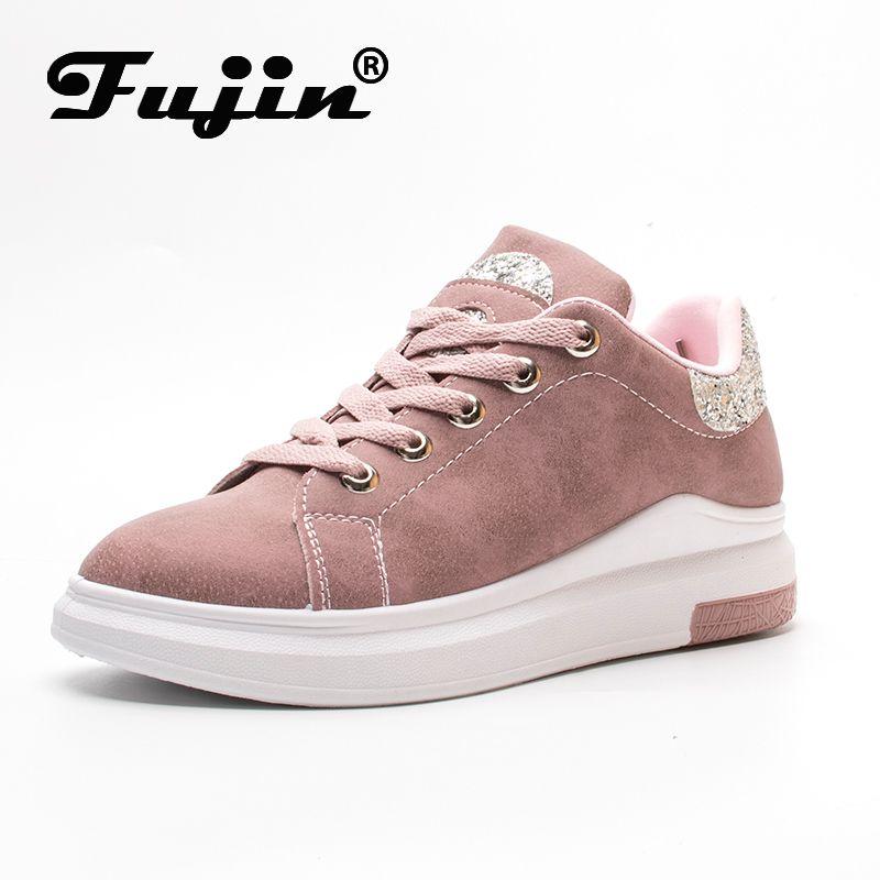 Fuijin 2020 Frühlings-Sommer-Herbst-Frauen Mode Turnschuhe weibliche beiläufige Schuhe Plattform PU-Leder klassische Baumwollspitze oben Schuhe 1006