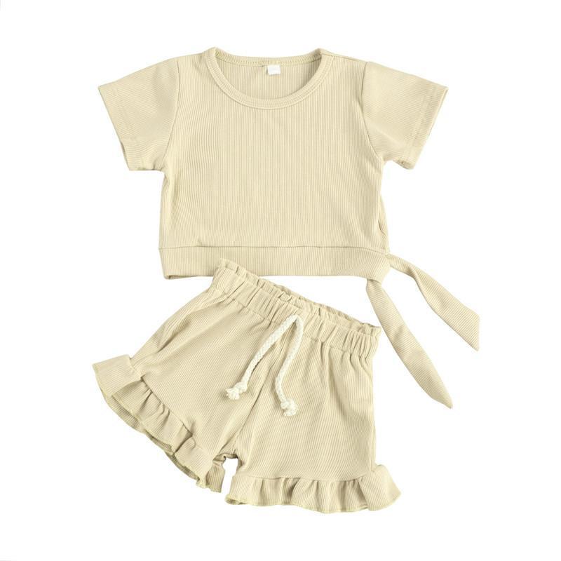 Giyim Setleri Yaz Bebek Pamuk Kısa Kollu Giysi Üstleri + Şort Bebek Yürüyor Kızlar Çocuklar Çocuk Kıyafetleri Suits