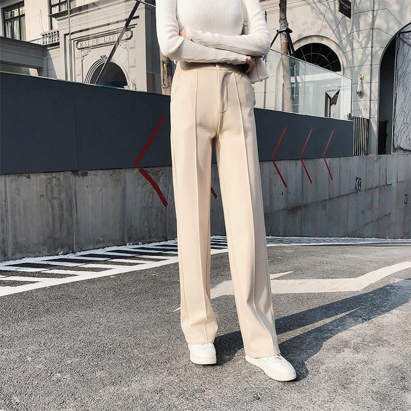 Frauen Hosen Capris Frühling Herbst Wollweites Bein Gerade Elastische Taille Hohe feste Farbe Lose Hosen KK3341