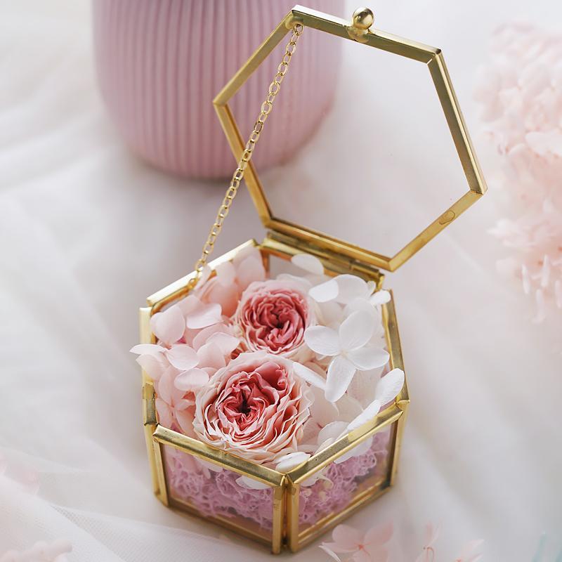 Caja de vidrio para anillos de boda, caja de portador de anillo claro, regalo de boda Caja de anillo en forma de hexágono personalizado, flores en pequeña caja de joyería