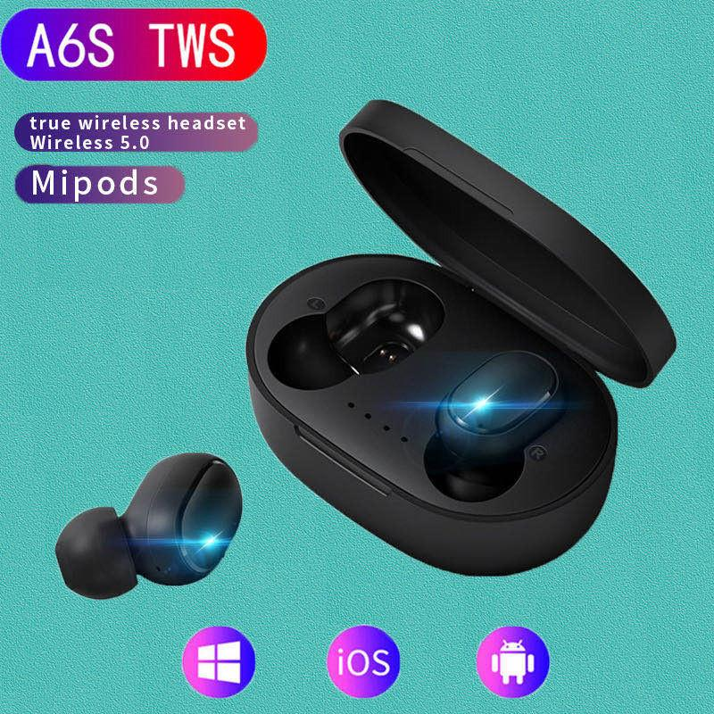 A6S / E6S TWS Wireless Bluetooth 5.0 Auricular para Xiaomi Redmi Airdots Auriculares IPX4 Auriculares a prueba de agua Earbud con micrófono Venta al por mayor DHL