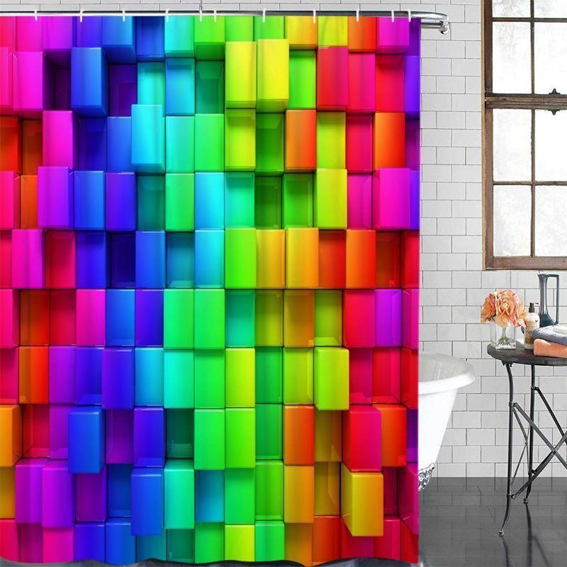 Caja de color moderno Caja de color Cortina de baño con ducha Cortina de baño Decoración impermeable Tela Ducha