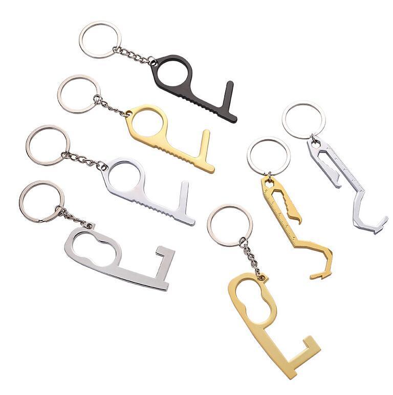 Tür näher Contact Contact Handheld Messing EDC Keychain-Werkzeug, das nicht berührungslos ankommt