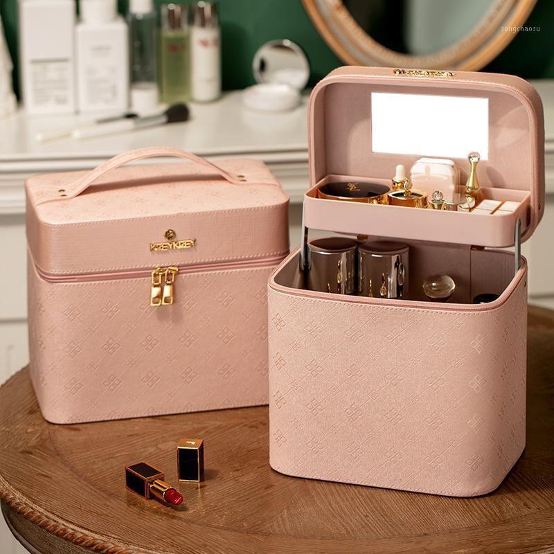 Grande capacidade multifuncional e caso cosmético portátil Cuidados com a pele de poeira Saco de armazenamento cosmético1