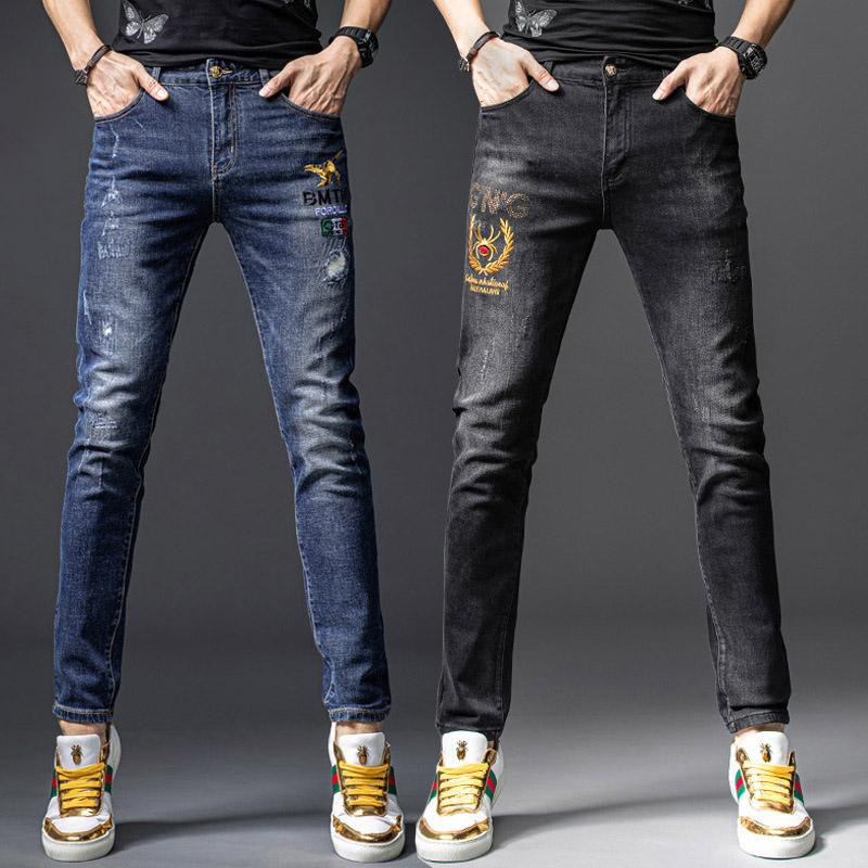 High Quality Mens Designer Casual Jeans Black Straight Leg Pants Rock Revival Slim Fit Skinny Jeans Fashion Luxury Ripped Men's Hip Hop Deni