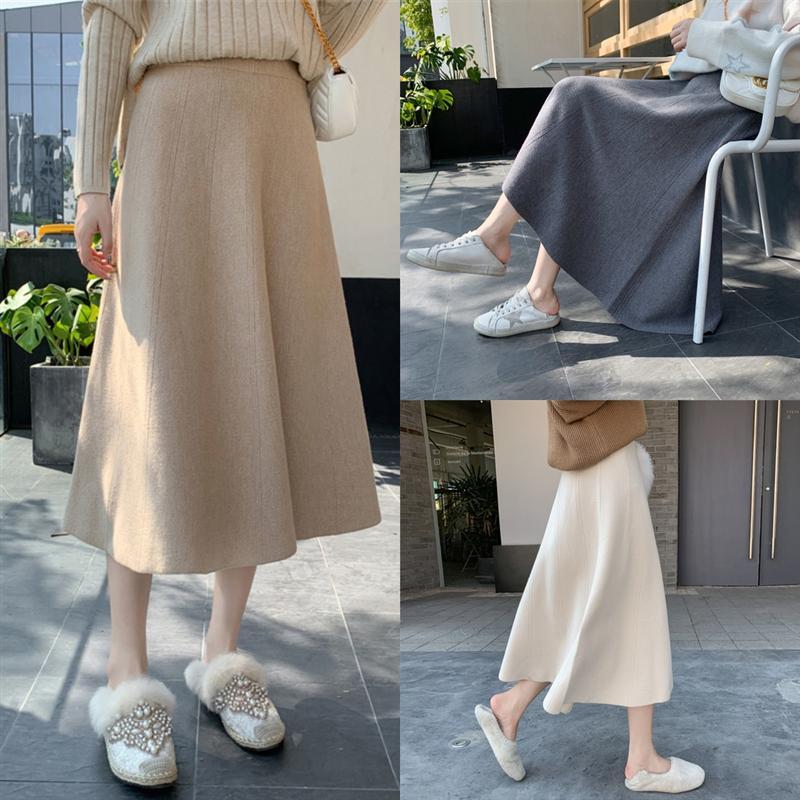 DsXUW Skirts Womens Tulle Faldas Mujer Moda Fashion High Elastic Skirt Waist Mesh Crotch Cover Maxi Pleated Long Midi long Knitting Saias