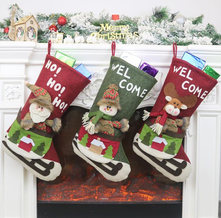 La última media de la Navidad 45.5cm, adornos de Navidad, árboles de Navidad, calcetines del caramelo del bolso, envío libre