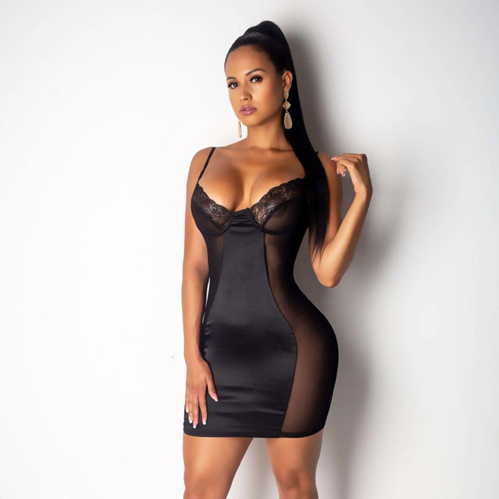 2021 Örgü Elbise Kadınlar Seksi Elbiseler Perspektif Siyah / Beyaz Moda Mini Bodycon Elbiseler Kulübü Vestidos Cornes Artı Boyutu M-3XL