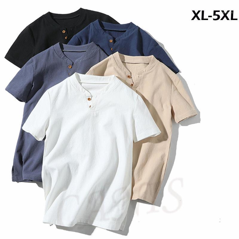 Летний с коротким рукавом белая рубашка хлопковое белье вскользь тонкие топы стойки воротник плюс размер сплошной цветные удобные мужчины рубашка1