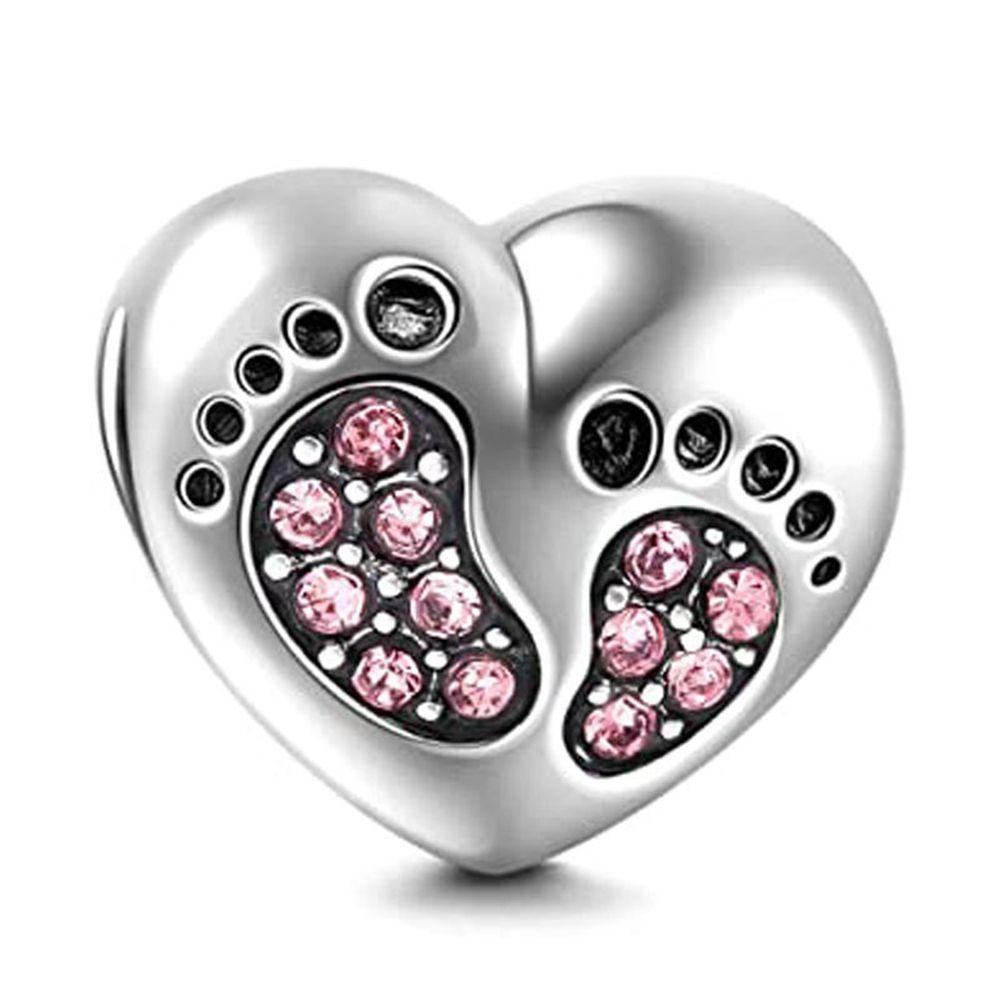 Diy 925 серебряные аксессуары Струнные Сыпучие шармов шариков Любовь Форма Алмазный инкрустированные прекрасный ребенок Footprint браслет