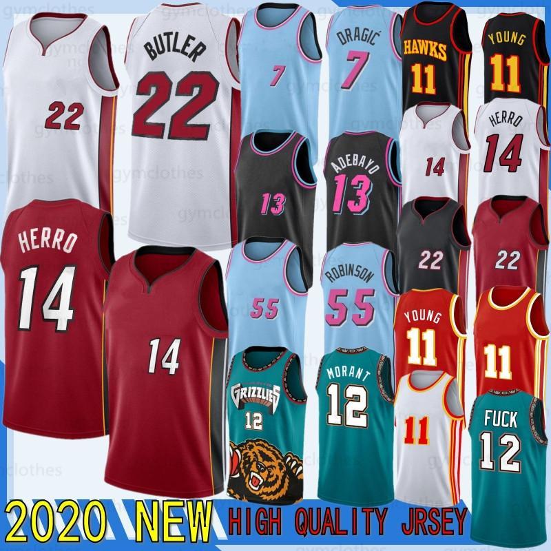 Trae Ja 12 Morant 11young 2020 New Jerseys Jimmy Tyler Butler 22 Herro 7 Maillots de basketball Dragic 13 Adebayo 55 Robinson