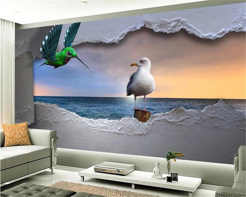 3d обои Главных Европейского море Стерео Птица Закат пейзаж Indoor TV фон украшение стена Mural обои