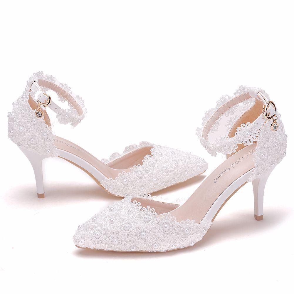 Lieferungen Wunsch Amazon White Lace Hochzeitsschuhe ein Wort Strap Stiletto Ferse Spitze Braut Hochzeit Sandalen 9cm Pumps Braut Hochzeitsschuhe