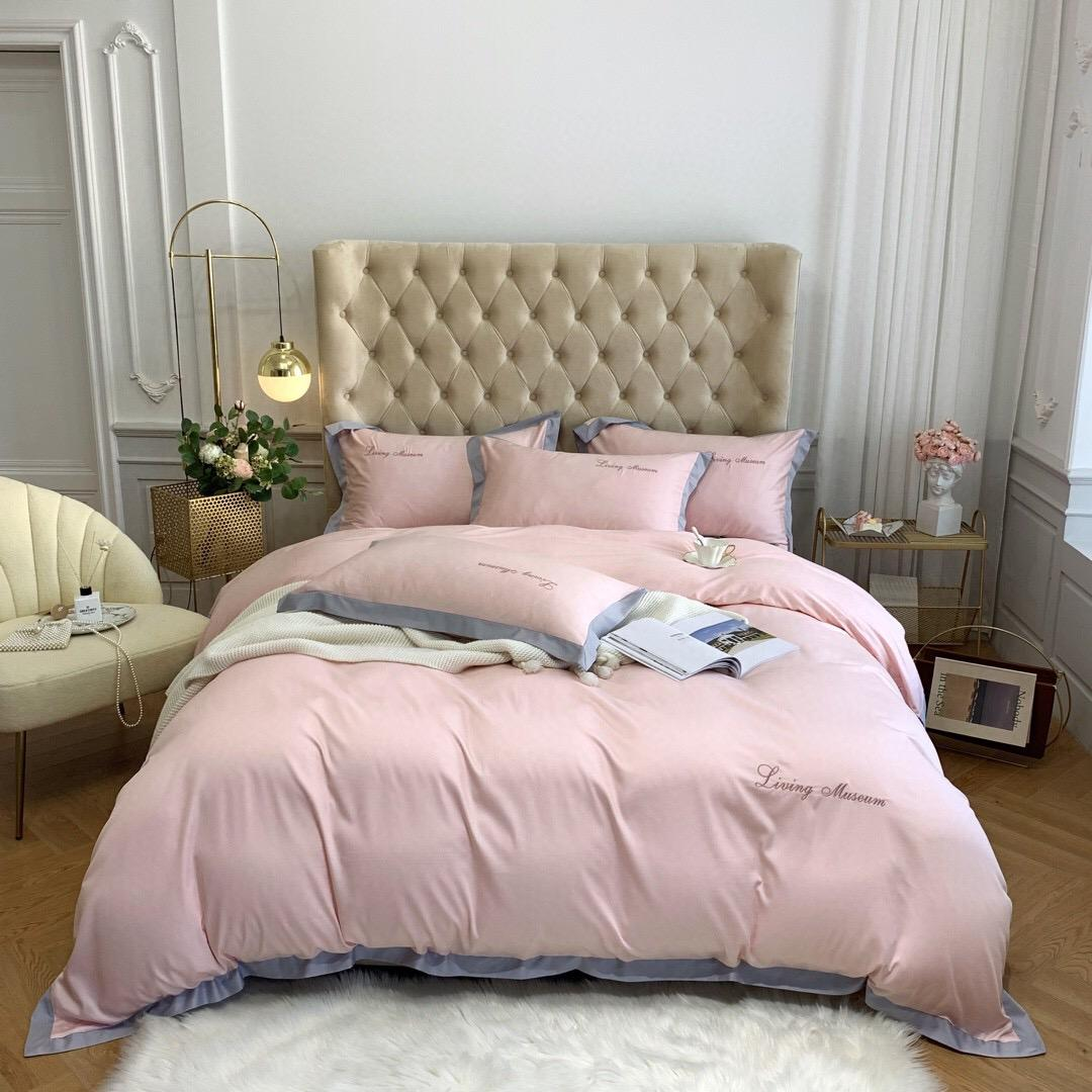 Hot sale four piece luxury light luxury bedding cover extra large rose pink quilt cover pillowcase duvet cover high end embroidery quilt