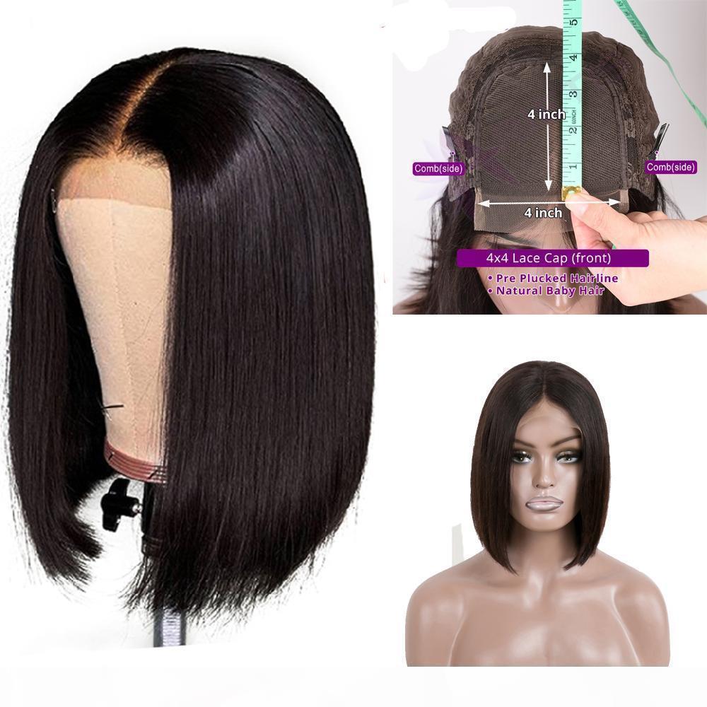 9A 150% densidade peruana hetero bob Humano cabelo 4x4 perucas de renda natureza cor laço frontal peruca peruana cabelo reto bob peruca