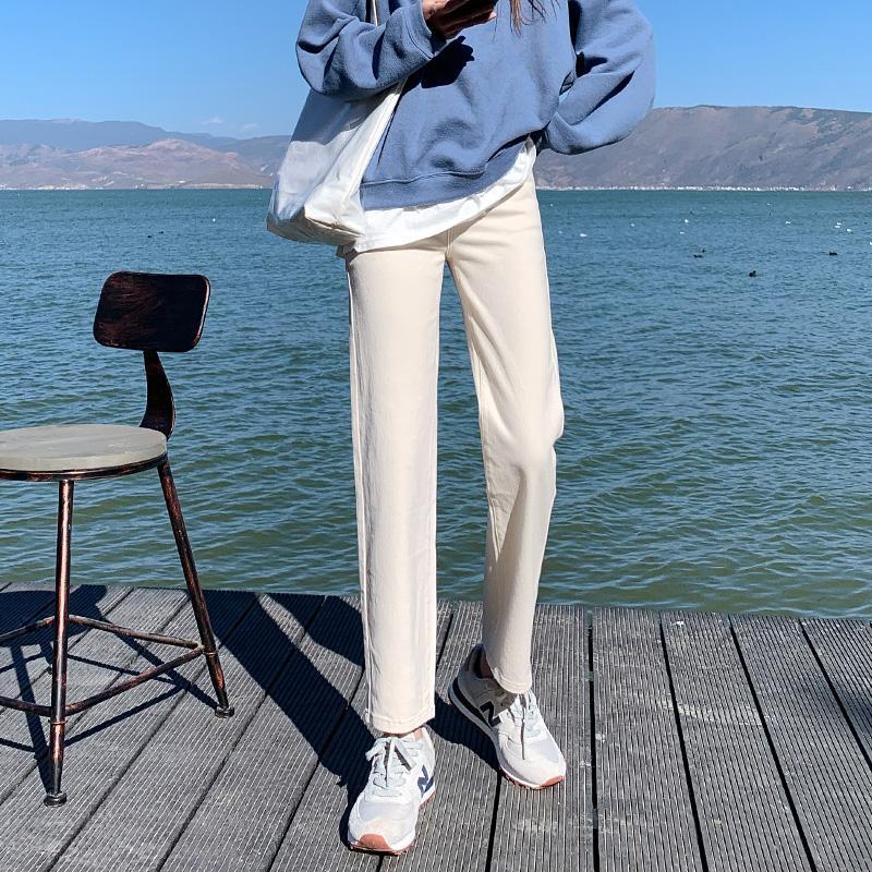 Женские джинсы 2021 весенние бежевые прямые женщины большой размер S-5XL сплошной цвет свободные мамы джинсовые брюки женские моды корейской уличной одежды