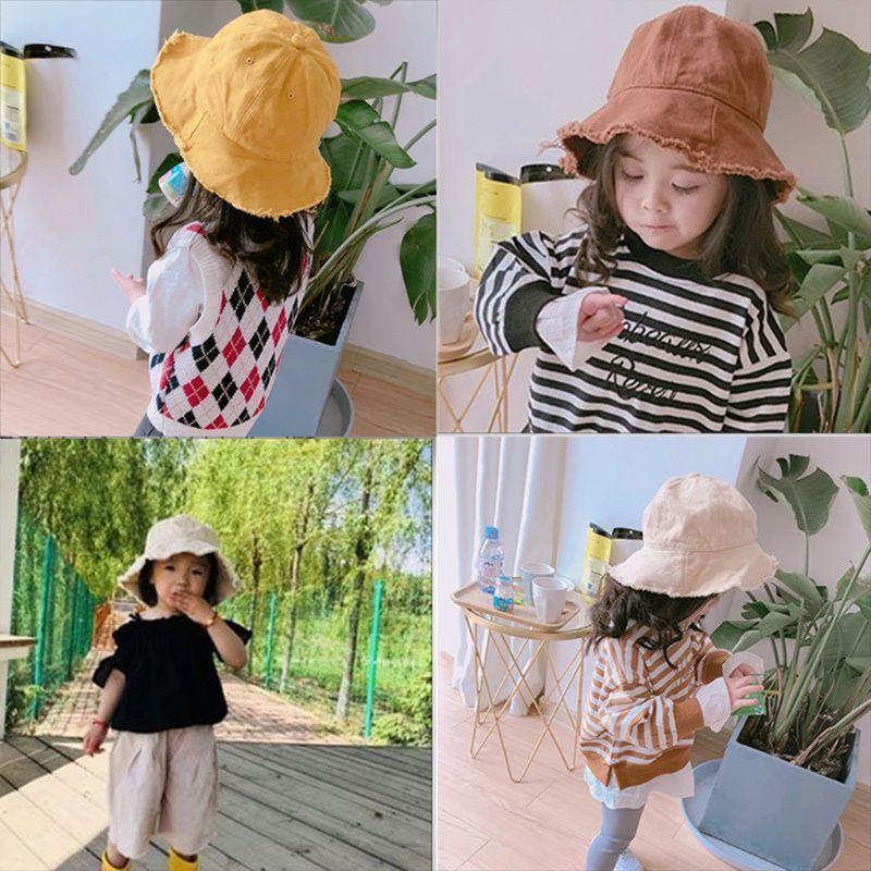 Toddler Baby Cotton Sunscreen Floppy Secchio Benna Cap Solido Colore Solido Vintage Lavato Frange Tassels Wide Brim Hip Hop Bambini Cappello da pescatore