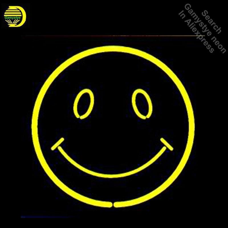 Neon Işaretler Gülümseme Yüz Neon Ampuller Için Işareti Güneş ve Ay Gerçek Cam Tüp Süslemeleri Duvar Neon Işık Makinesi Tabela Dropshipping
