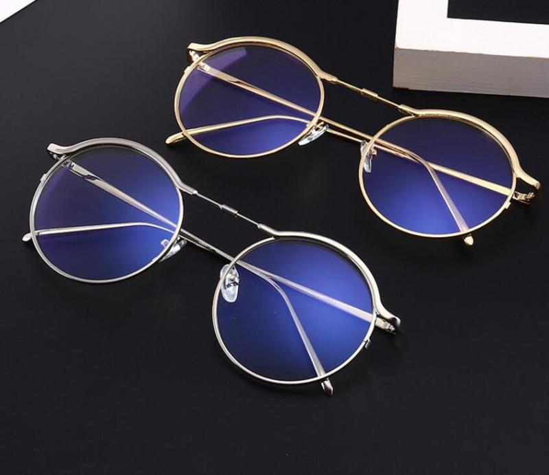 E ojos hombres gafas de oro gafas de metal kx5903 gafas de espectáculos negro marco de lectura vidrio para mujer retro mujeres claro vidrio redondo fgwno