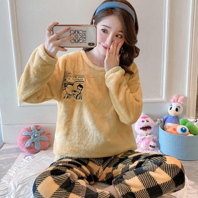 Conjuntos Quentes de Inverno Mulheres Flanel Nightgown Pijamas Mujer Nieuwe Roupas Início 2020 Dropshipping