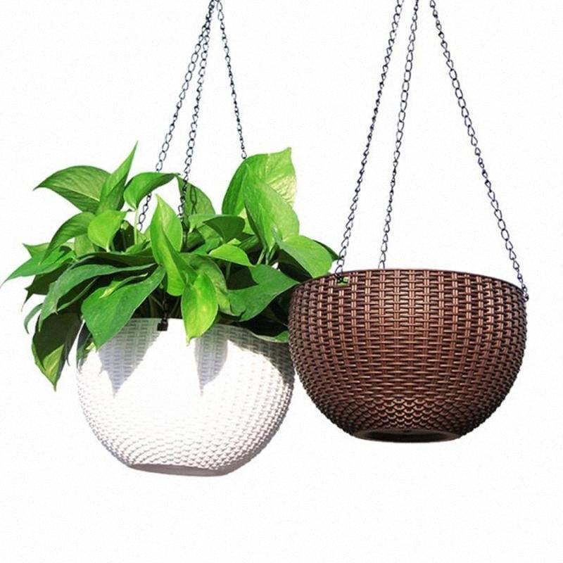 Nero appeso Catene Flower Pot Basket Alimentatori dell'uccello Planters Lanterne e ornamenti da giardino pianta Appendini jQpa #