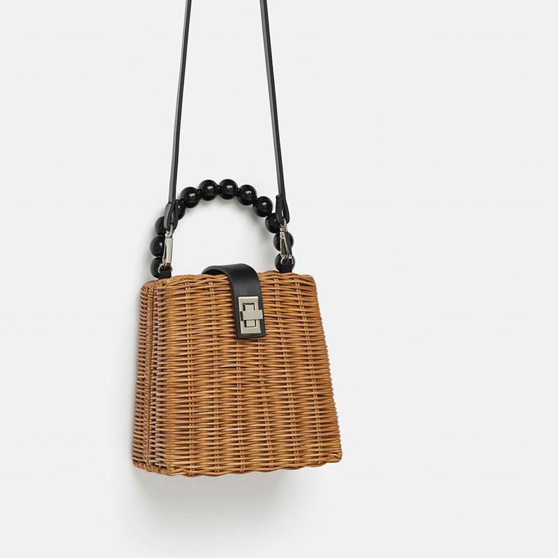 Kleine Box Perlen Griff Stroh-Beutel-beweglicher Messenger Handgefertigte Handtasche Straw Taschen Strand