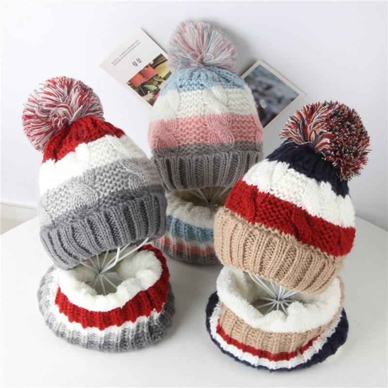 2pcs chaud chapeau bébé polaire enfant chapeau d'hiver enfant en bas âge GirlBoy bébé Splice Casual Crochet Knit Bonnet + écharpe Hairball Cap Set Suit