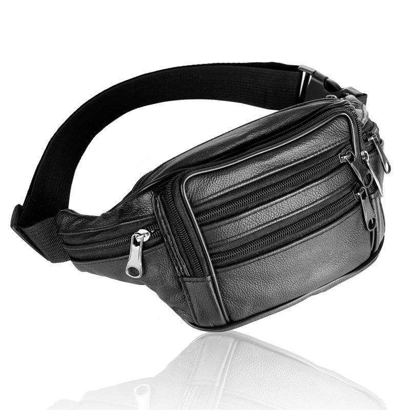 Bolsa de cuero de cuero Hombre Cintura genuina Fanny Pack Pack Belt Packs Paquete de la cintura del teléfono para el bolso masculino Hombres Viajes Pequeño Cowhide Xbvkx