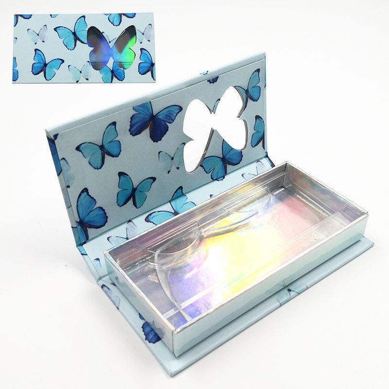Butterfly Printed False Eyelash Packaging Case Empty Glitter False Eyelash Magnetic Mink Eyelashes Packaging Box with Tray HHA3421