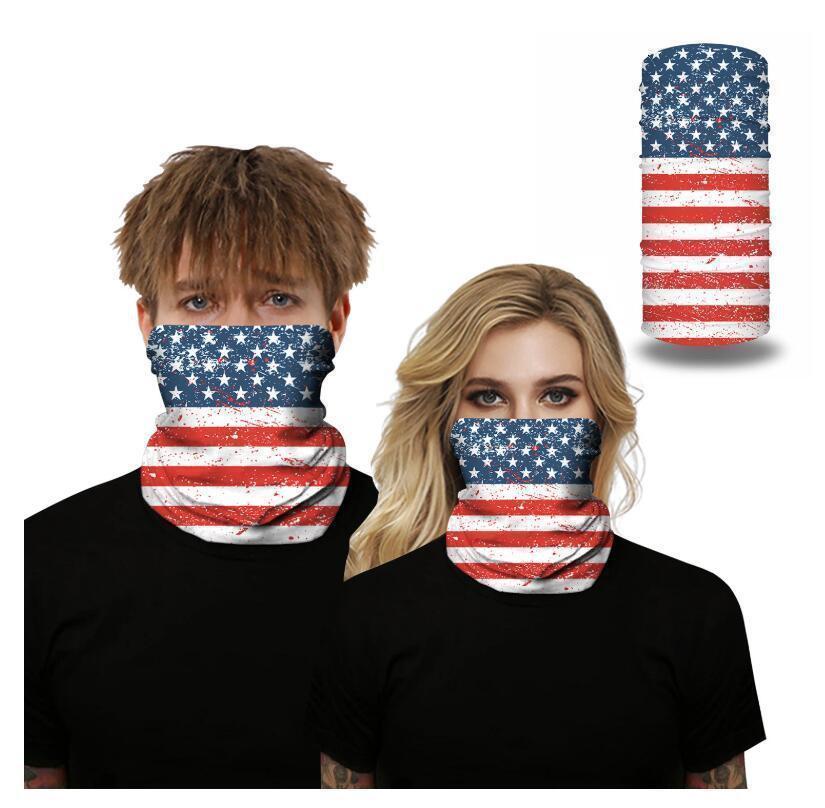 Bandanas-Flagge Gesicht 3D Amerikanischer Druck Nahtlose Maske Multifunktions-Stirnband Schal Headwrap Motorrad Radfahren UV-Staub Prot2ev5