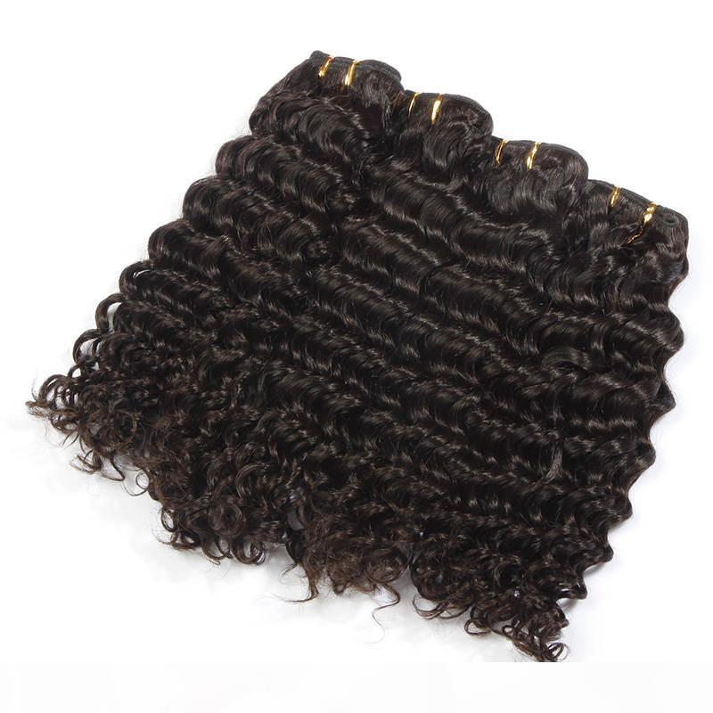 # 1 Jet Siyah Renk Çin Derin Dalga Saç Uzatma 100% İnsan Saç Dokuma 6A Işlenmemiş Çift Atkı Saç Dokuma 10-30 Insbs