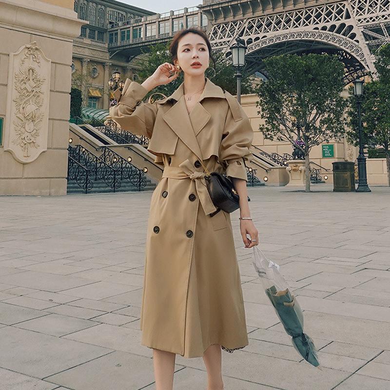 가을 여성용 긴 트렌치 코트 더블 브레스트 캐주얼 벨트 카키 드레스 느슨한 검은 자켓 Epaulette 패션 한국어 2020 겨울