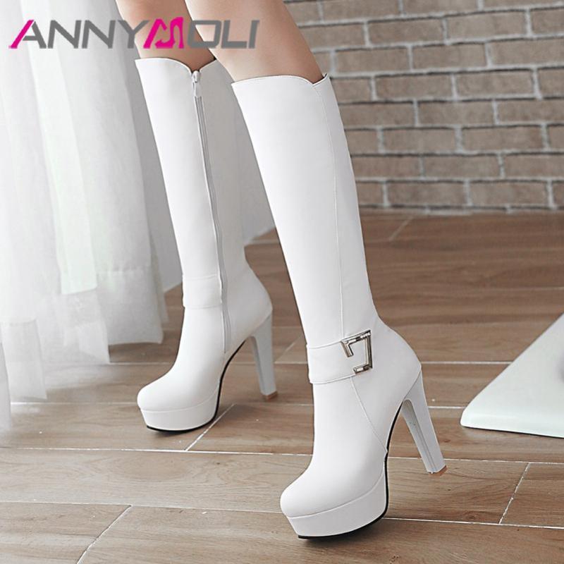Joelho ANNYMOLI inverno alta Botas Mulheres Zipper Plataforma do bloco do salto alto Botas Buckle extrema sapatos de salto alto Lady Queda Tamanho 33-43
