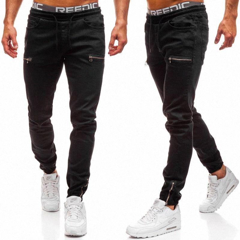 Männer Denim-Gewebe-beiläufige Frosted Zipper Design Sport Jeans Europa und Amerika Herren Jeans L5wT #