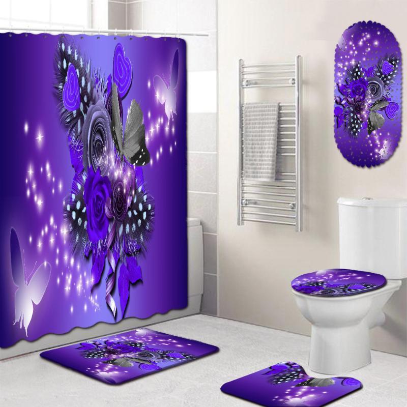 Floral 4 Piece Shower Curtain Set com Chuveiro Mat Anti Slip Tapete Banho Tapetes Bath Mat 3D Toillete Seat Cover para Home Decor