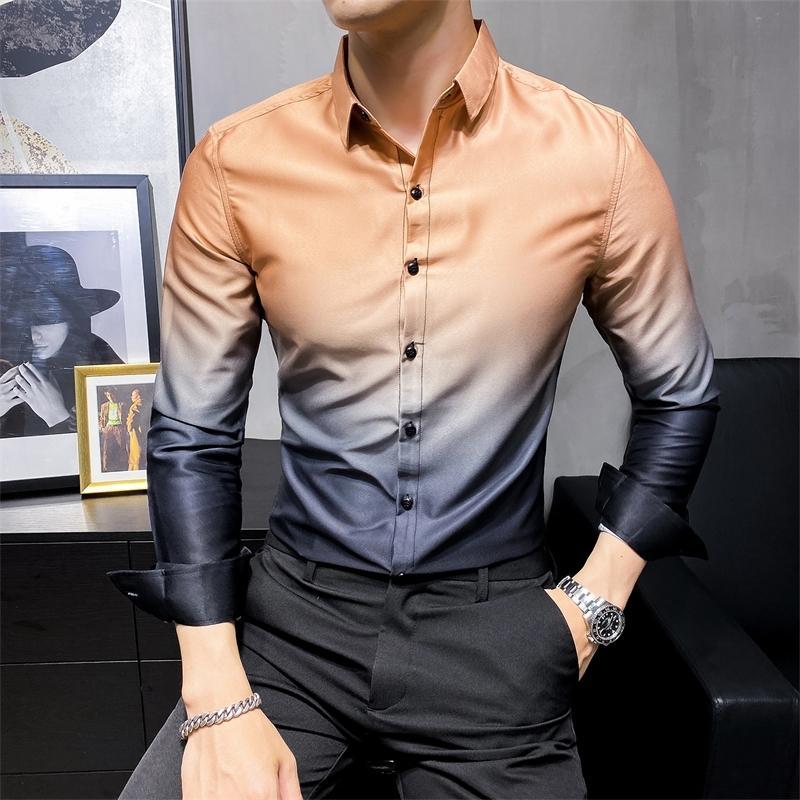 Haute qualité Hommes d'affaires Chemise mode Chemise à manches longues Vêtements pour hommes Slim Fit Dégradé couleur Tenue de soirée Chemisier Hommes 201022