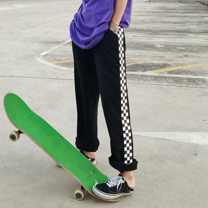 Neploe Kadın Erkek Sweatpants Yan Siyah ve beyaz ekose pantolon Nedensel Gevşek Pantolon Kore Moda Harajuku Pantolon 35803 201012