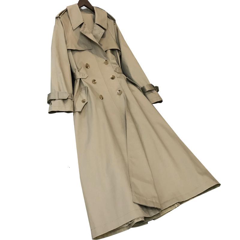 Añadir 2019 Otoño New Women's Casual Trench Abrigo de gran tamaño Doble Breasted Vintage lavado Outwear Ropa suelta