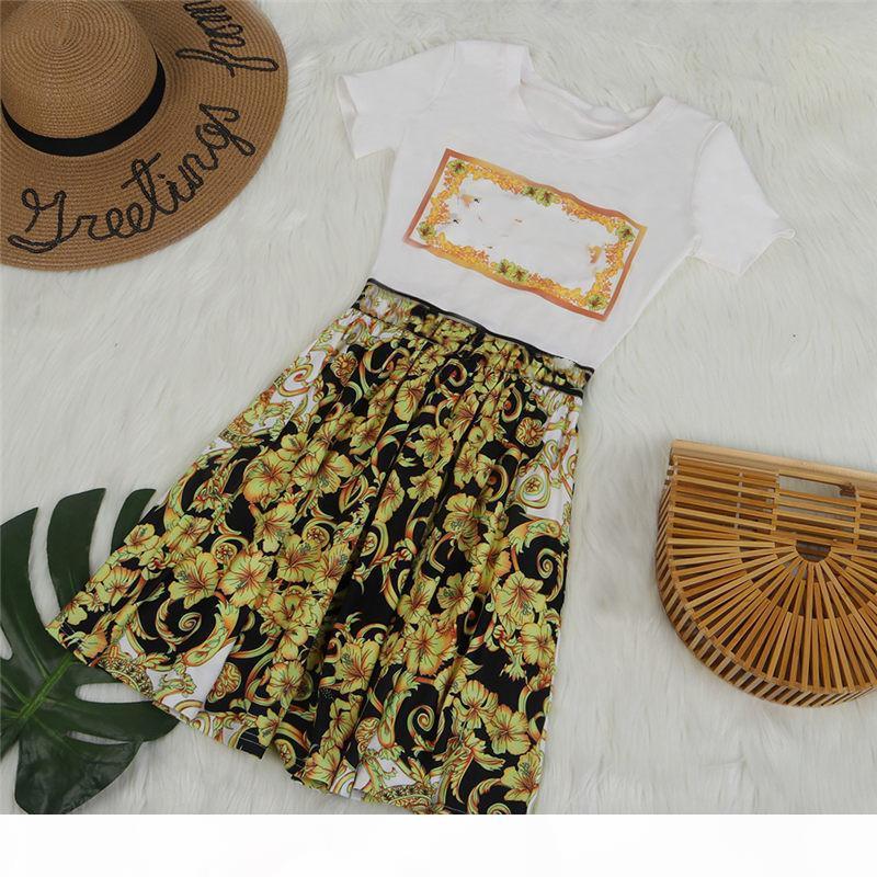 2019 Lüks Tasarımcı Bayan Elbiseler Çiçek Baskılı A-line Bayan Elbiseler Casual Bayan Giyim Ücretsiz Kargo