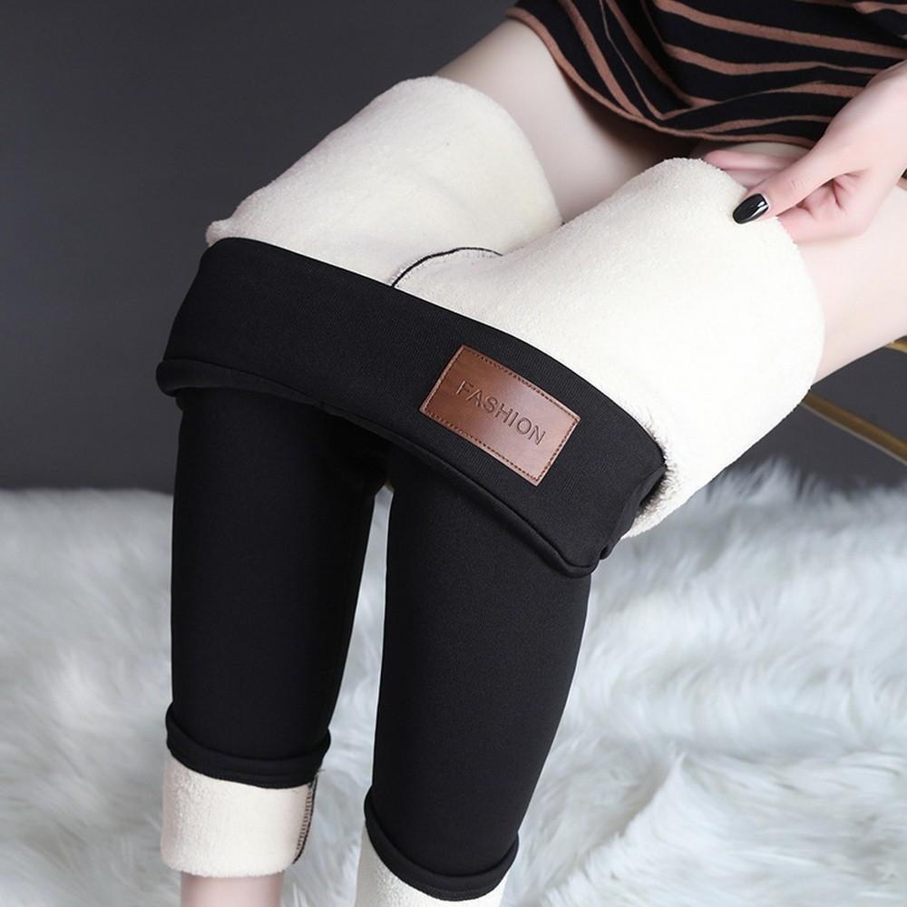 BEFORW Office Lady Pencil Pants Winter Warm Trousers High Waist Stretch Pants Women Casual Thick Skinny Fitness Leggings 201103