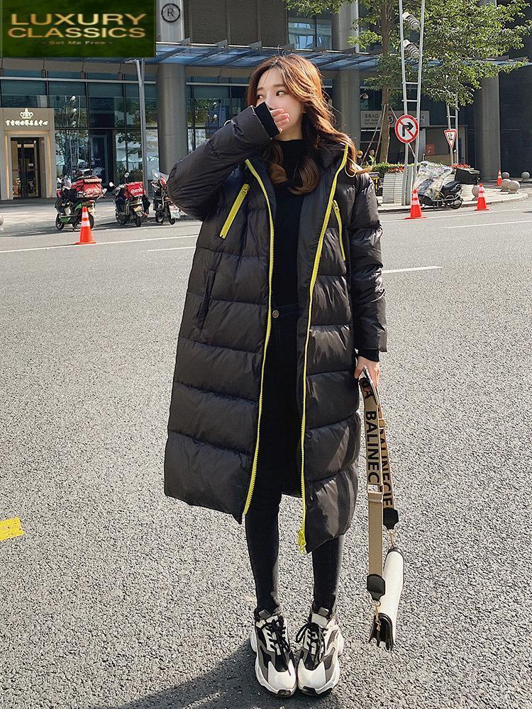 Femenino Down Parkas Chaqueta de invierno largo 90% Blanco Abrigo de pato Femenino Coreano con capucha Mujer Moda 2021 Mujer Chaqueta 84