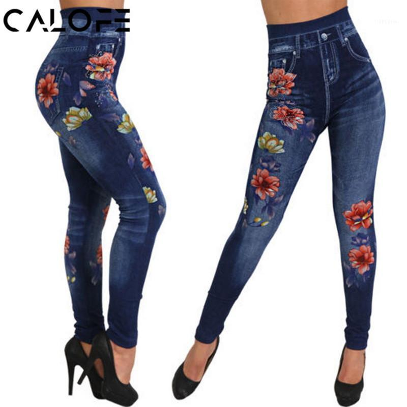 Calofe Faux Denim Jeans Jeans Leggings Mujeres 2018 Moda Rose Imprimir Pantalones Lápiz Pantalones de Lápiz Plus Talla Casual High Cintura Entrenamiento Spandex Leggings1