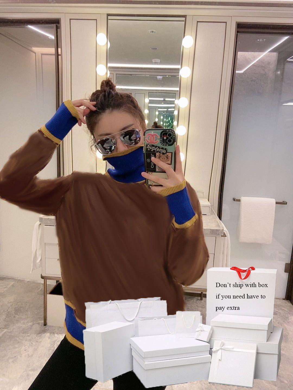 Sweater Mulheres clássico Tops 2020FW Moda Estilo Ins Tiktok Hot Sale Contraste Cor camisola Womens Turtle Neck Letter Pattern
