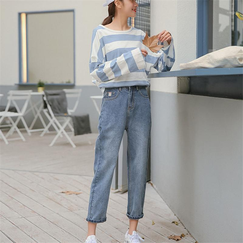 2020 Femmes Taille High Taille Loable Petite jambe Femme Jean Coréen Style Corean Retro Vintage Pockets All-match Simple Daily1