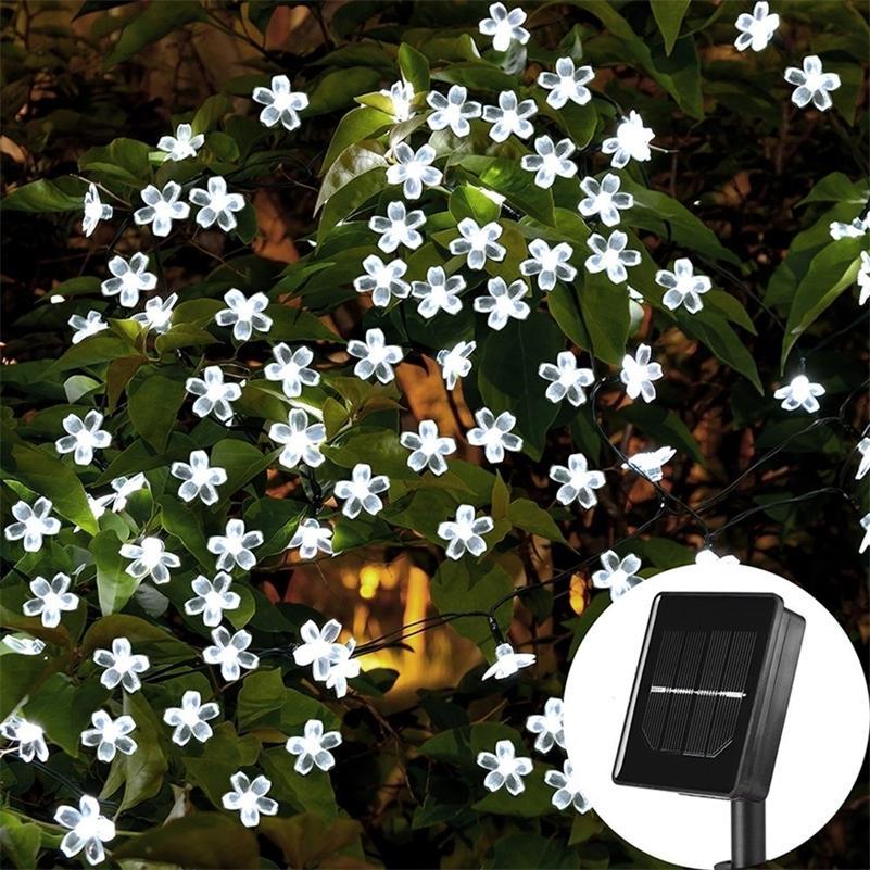 22m 200 LEDs solar string luz de pêssego flor fada luz de fada jardim ao ar livre festa de Natal decoração luzes solares 201203