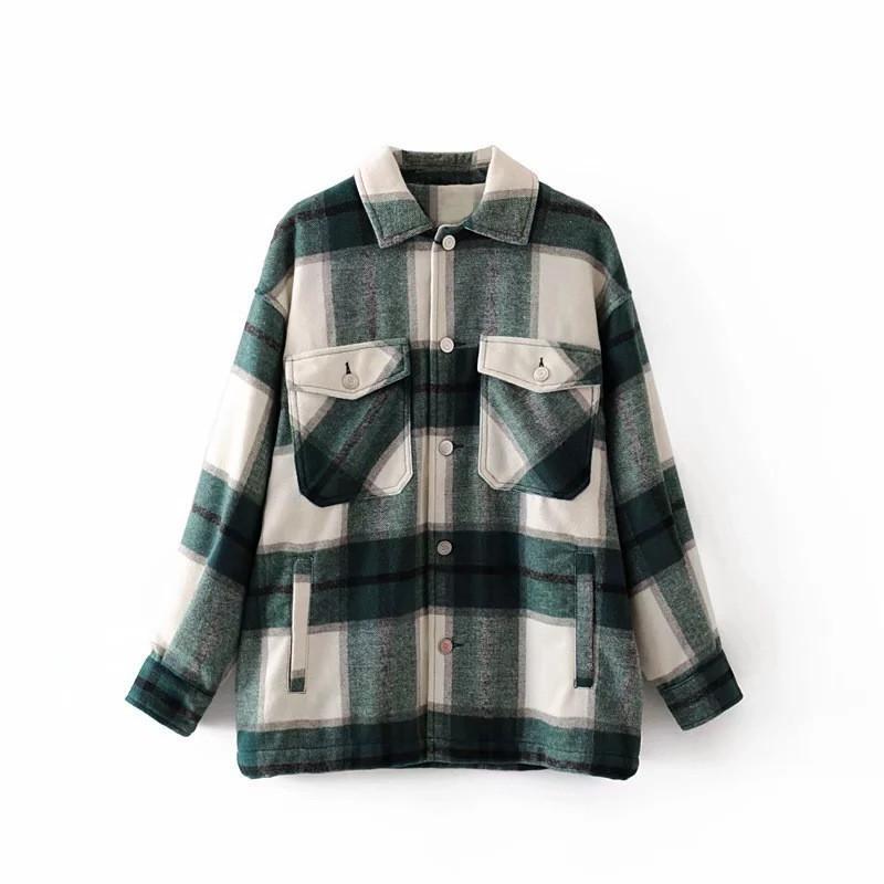 2021 Primavera Autumn Mujeres Green Plaid Coat Chaqueta Casual Alta Calidad Soft Bended Woolen Sobrecomaduriño Camisa de moda