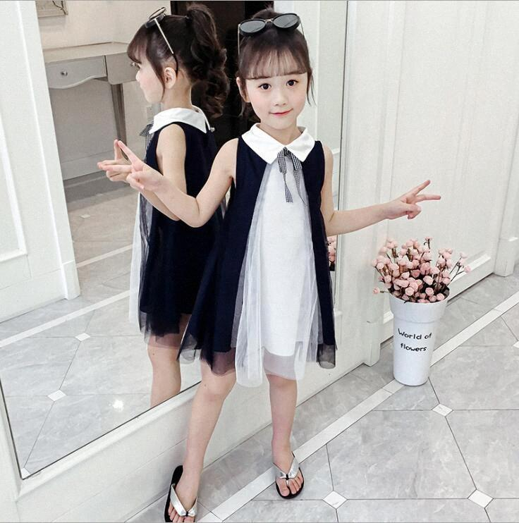 летние девушки одеваются игры для девочек черного галстука рукавов платья партии малышей для девочек оптовой q1Za #